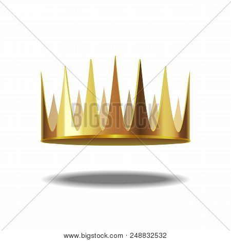 Realistic Detailed 3d Golden Crown Symbol Of Royal Or Aristocracy Jewelry, Element Success And Award