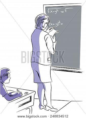 Teacher Teaching Mathematics.  Illustration Of Math Teacher And Student In The Classroom. Illustrati