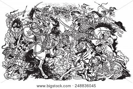 Battle Between Mongols Clans And Tribes .time Of Genghis Khan .medieval Asian Cavalry Warriors Fight
