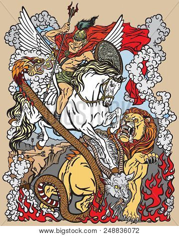 According To Ancient Greek Mythology The Hero Bellerophon Or Bellerophontes With The Aid Of The Wing