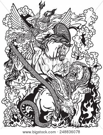 The Mythological Hero Bellerophon Or Bellerophontes Riding The Divine Winged Horse Pegasus And Fight