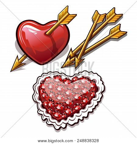 Red Heart Is Permeated With The Golden Arrow. Needle Cushion In The Shape Of A Heart With The Textur