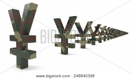 Yuan Currency Sign With Army Camouflage Paint. Economy War Concept. Suitable For Economy, Finance, B