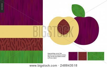 Food Patterns, Summer - Fruit, Plum Texture, Half Of Plum Image On Side- Four Seamless Patterns Of P