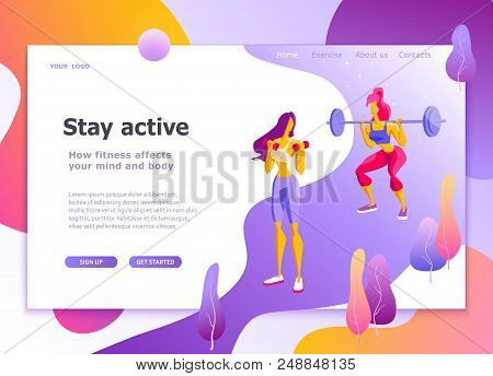 Landing Page Template Of Healthy Lifestyle, Athletics, Womens Fitness Modern Flat Design Concept Of