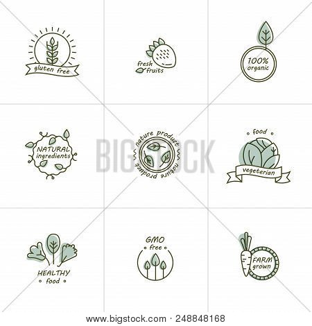 Organic Food, Farm Fresh And Natural Product Icons And Elements Collection For Food Market, Ecommerc