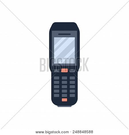 Vector Illustration Of Hand Holding Bar Code Scanner Or Reader Isolated On White Background