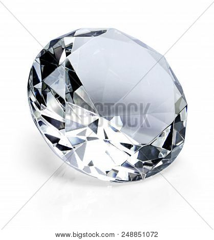Beautiful Shiny Diamond, Isolated On White Background. Clear Or Transparent Diamond, Close-up Shot.