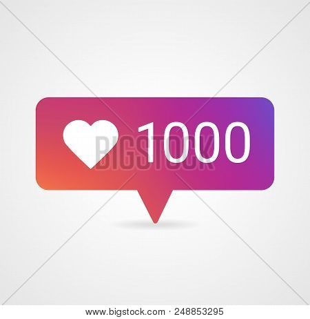 New Counter Notification Icon, color gradient. Follower icon 1000 likes. Instagram like 1000 icon. Social media 1000 like. Vector illustration Vector EPS 10