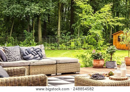 Knot Pillow On A Sofa, Table With Milk And Fruit In A Garden With Trees
