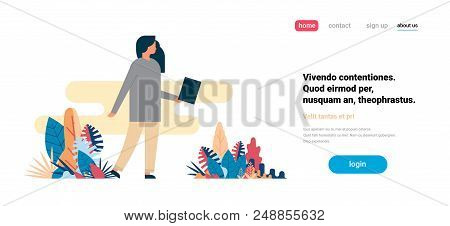 Woman Using Laptop Working Process Standing Alone Flat Horizontal Copy Space Vector Illustration