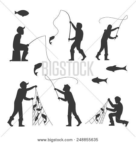 Fish And Fisherman Silhouettes Isolated On White Background. Fisherman Fishing Sport And Leisure. Ve