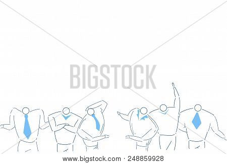 Business People Team Brainstorming Working Together Process Strategy Concept White Background Sketch