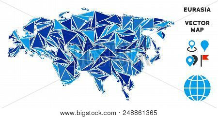 Eurasia Map Collage Of Blue Triangle Items In Variable Sizes And Shapes. Vector Triangles Are Arrang