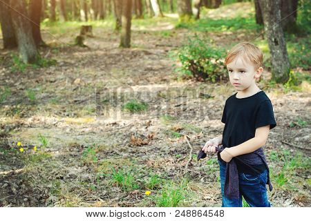 Cute Little Boy Playing On Wild Nature. Family Vacations On Countryside. Happy Childhood. Happy Kid