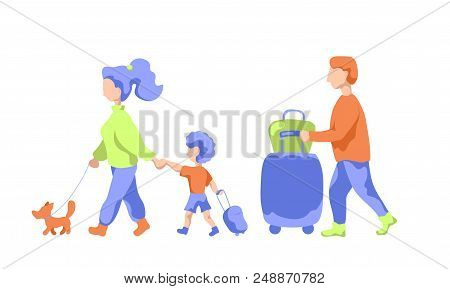 Travelling Family With Pet And Luggage, Flat Vector Illustration. Family Leaving To Summer Vacation.