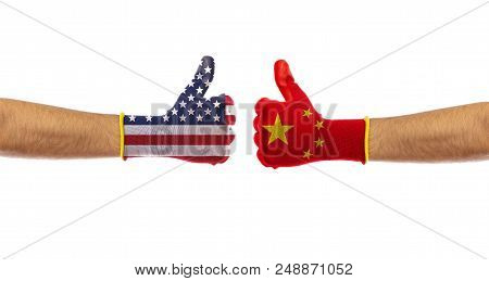 Usa Vs China, Trade War. Us Of America And China Flags Gloves Isolated On White Background, Clipping