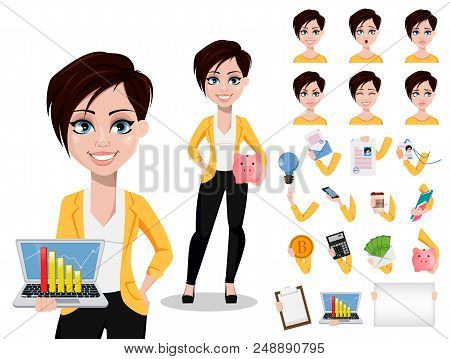 Business woman, freelancer, banker. Beautiful lady in casual clothes. Pack of body parts, emotions and things. Build your personal design. Vector illustration poster