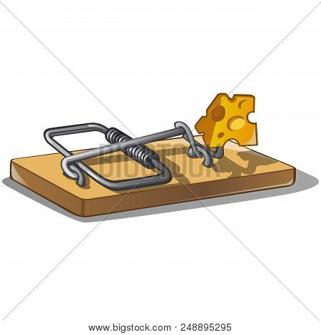 Free Cheese In A Mousetrap Isolated On White Background. Vector Cartoon Close-up Illustration