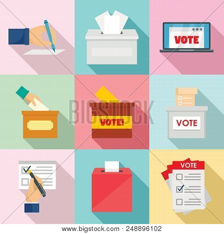 Ballot Voting Box Vote Polling Icons Set. Flat Illustration Of 9 Ballot Voting Box Vote Polling Vect