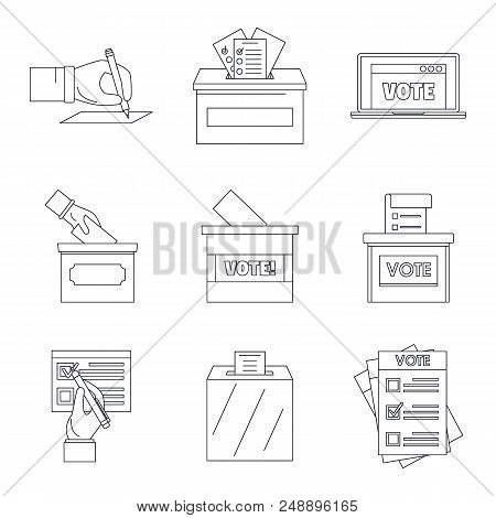 Ballot Voting Box Vote Polling Icons Set. Outline Illustration Of 9 Ballot Voting Box Vote Polling V