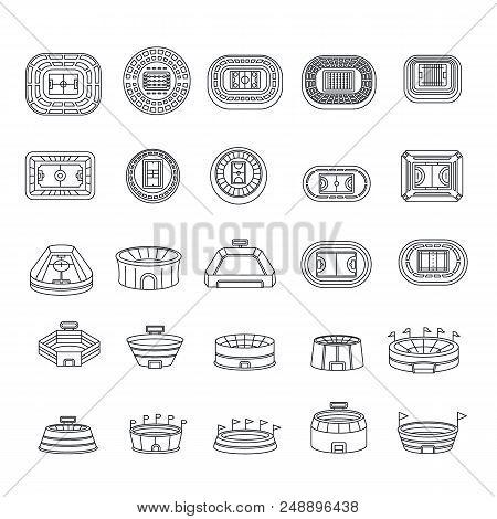 Arena Stadium Sport Scene Icons Set. Outline Illustration Of 25 Arena Stadium Sport Scene Vector Ico
