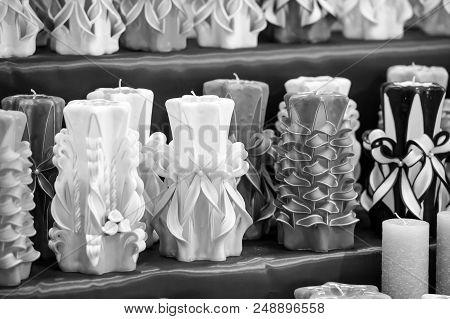 Candles On Shelf In Decoration Shop. Decor Design, Craft, Decoration Shop. Wick, Paraffin Or Wax Od