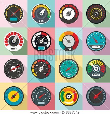 Speedometer Level Indicator Icons Set. Flat Illustration Of 16 Speedometer Level Indicator Vector Ic