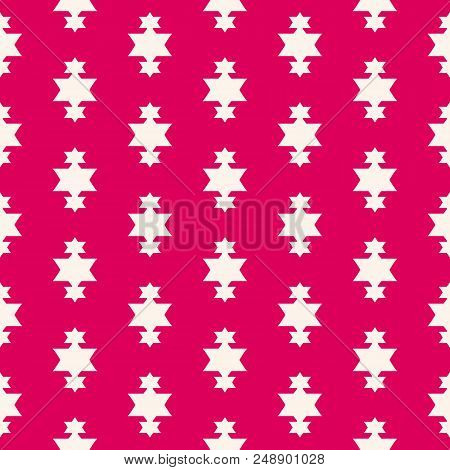 Vector Red Christmas Background. Simple Geometric Seamless Pattern With Star Shapes, Magic Sparkles.