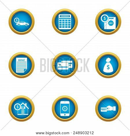 Cash Exhaust Icons Set. Flat Set Of 9 Cash Exhaust Vector Icons For Web Isolated On White Background