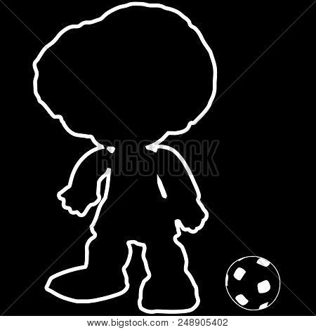 Outline Football Player, Silhouette With Classic Soccer Ball