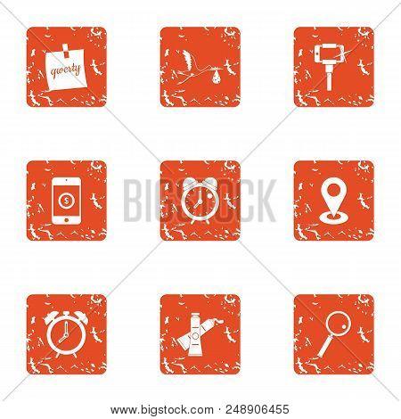 Nap Icons Set. Grunge Set Of 9 Nap Vector Icons For Web Isolated On White Background