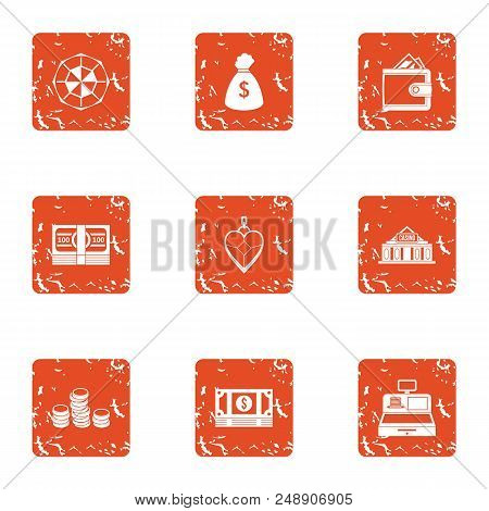 Exchange Icons Set. Grunge Set Of 9 Exchange Vector Icons For Web Isolated On White Background