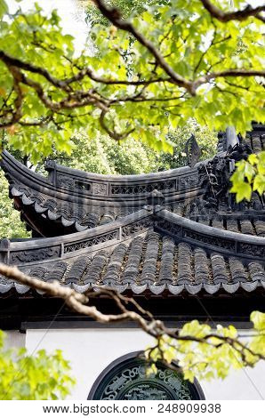 Detail Of Roofs At Yuyuan Gardens Yu Garden , Shanghai, China, Asia. Traditional Architecture Of Chi