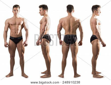 Four Views Of Muscular Shirtless Male Bodybuilder: Back, Front And Profile Shot, Isolated On White B