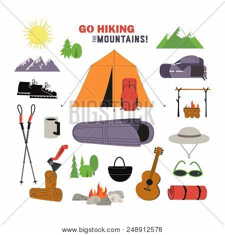 Hiking Equipment Icon Set. Go On A Hike Slogan. Time Hiking The Mountains Design Element Collection