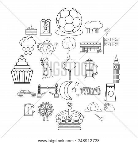 Detached House Icons Set. Outline Set Of 25 Detached House Vector Icons For Web Isolated On White Ba