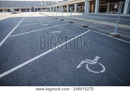 Berlin / Germany - April 29, 2018: Disabled Parking Space On Passenger Terminal Berlin Brandenburg A