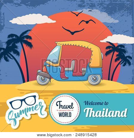Welcome Thailand Concept Banner. Cartoon Illustration Of Welcome Thailand Vector Concept Banner For