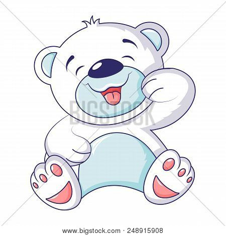 Cute White Bear Icon. Cartoon Of Cute White Bear Vector Icon For Web Design Isolated On White Backgr