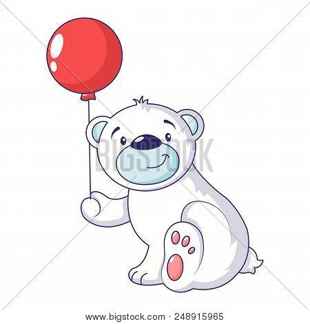 Bear With Air Ballon Icon. Cartoon Of Bear With Air Ballon Vector Icon For Web Design Isolated On Wh