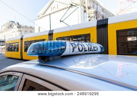 German Police Blue Light Bar. Polizei Means Police.