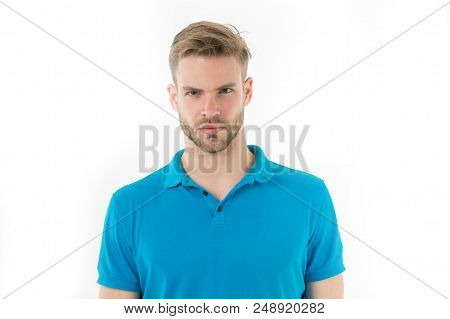 Focused Glance. Man Bristle Concentrated Strict Face Looks At Camera Isolated White. Man Beard Unsha
