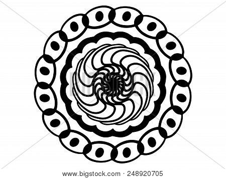 Black Doodle Mandala On White Background. Mandala With Move Illusion Vector. Round Stamp Template. C