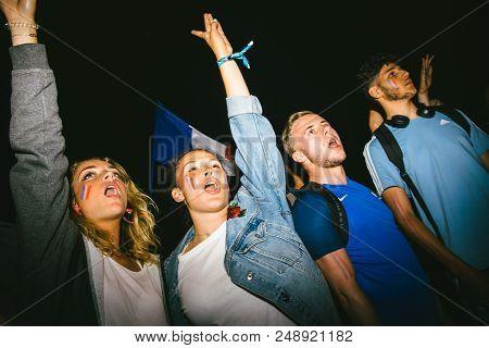 Strasbourg, France - July 10, 2018: Girls Celebrating On Central Place Kleber After The Victory Of F