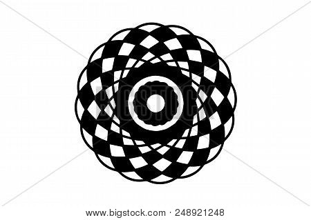 Black Vector Mandala On White Background. Checkered Mandala Decor Element. Round Stamp Template. Cir