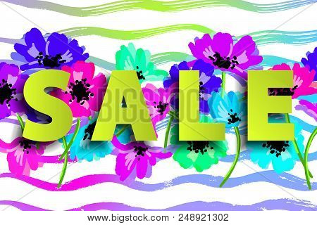 Sale Summer Poster With Flowers On Stripy Background. Advertisement Banner With Hand Drawn Elements.
