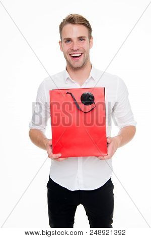 This Is For You. Guy Satisfied Gives Bag Gift. Man Happy Offers Package Purchase. Delivery Service.