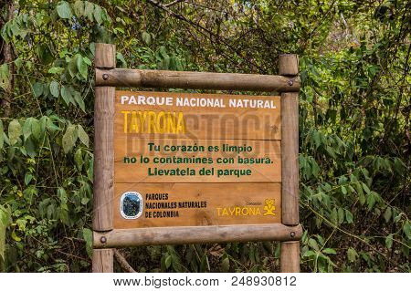 Tayrona National Park, Santa Marta Colombia. April 2018. A View Of Information Signage In Tayrona Na