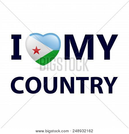 Heart With Djiboutian Flag Colors. I Love My Country - Djibouti